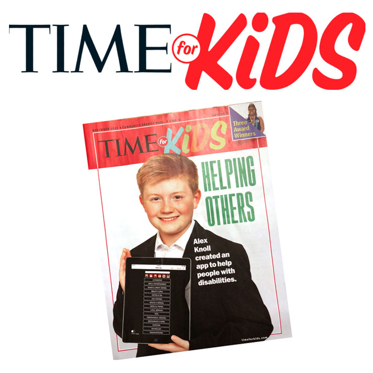 Read the Time For Kids Article About Ability App. Alex Knoll is featured on the cover of Time For Kids Magazine.